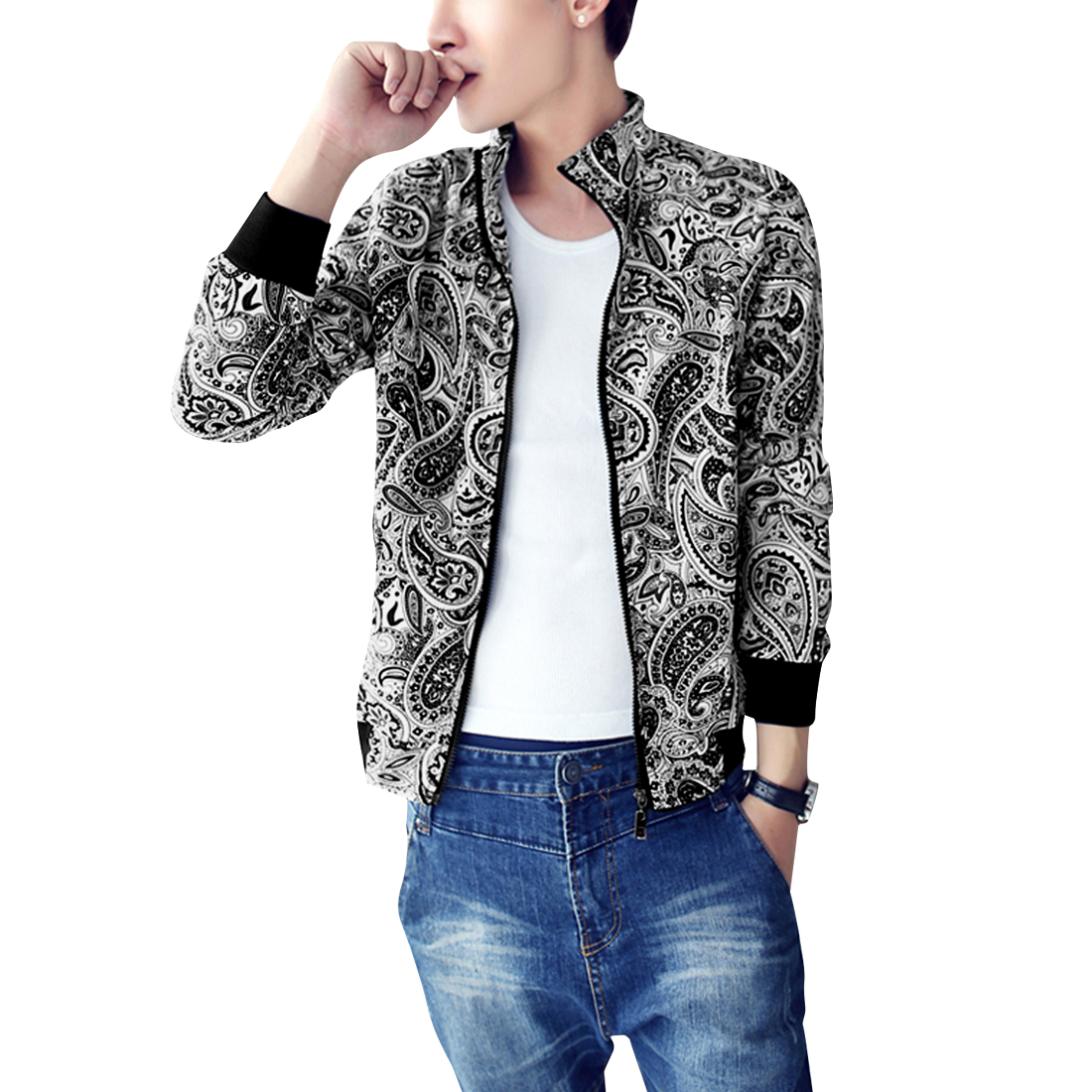 Men Stand Collar Zip Up Paisleys Black White Casual Jacket S