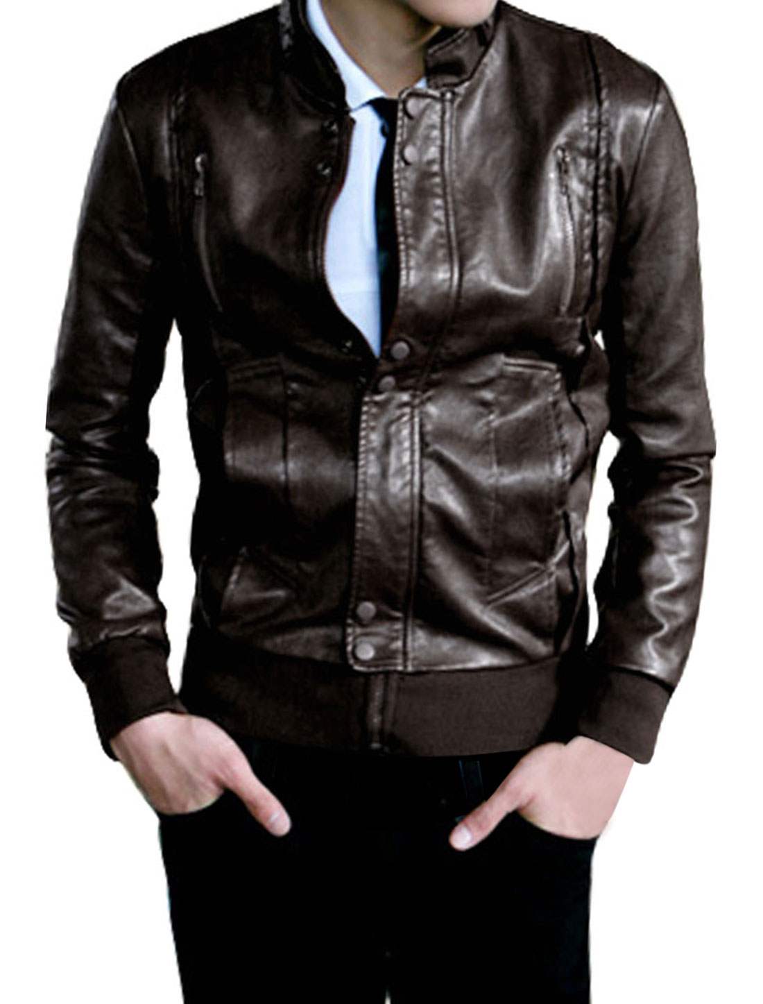 Brown Zip Up Stand Collar Ribbed Hem Imitation Leather Jacket S