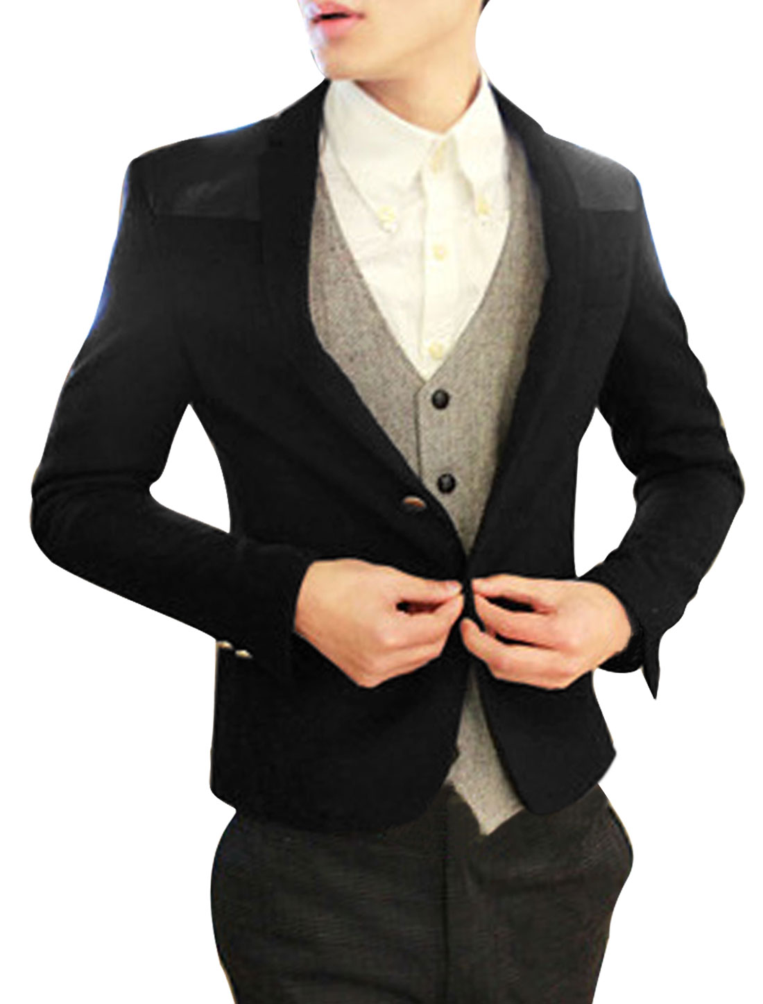 Black Panel Single Breasted Button Up Casual Blazer for Man M