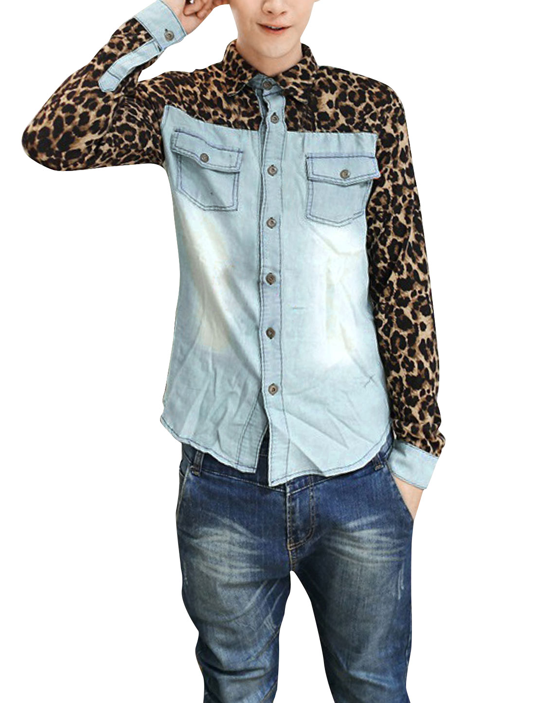 Men Long Sleeved Leopard Splicing Blue Brown Denim Shirt S