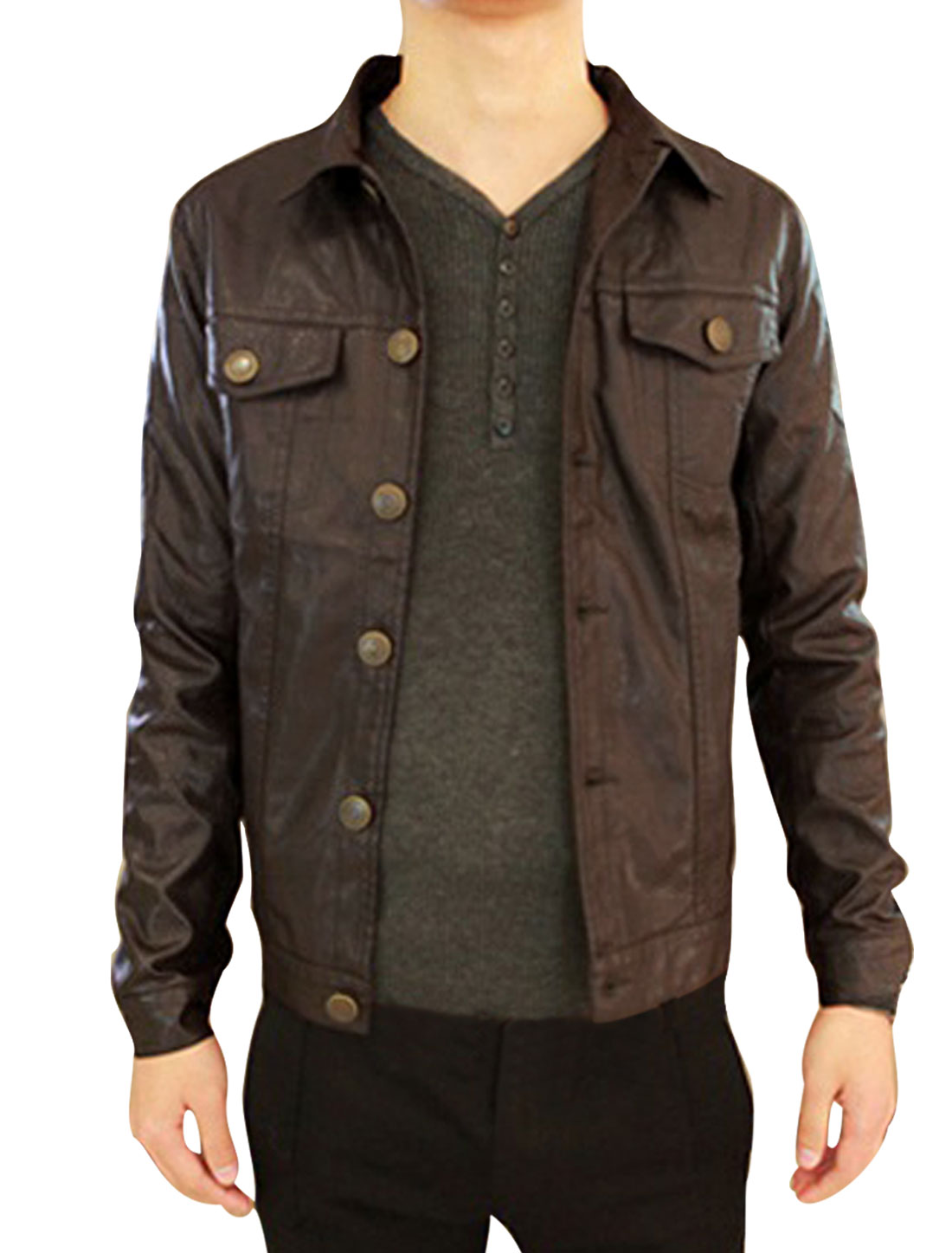Coffee Turn Down Collar Button-up Cuff Man Imitation Leather Jacket S