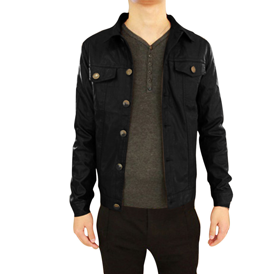 Black Front Pockets Turn Down Collar Man Imitation Leather Jacket S