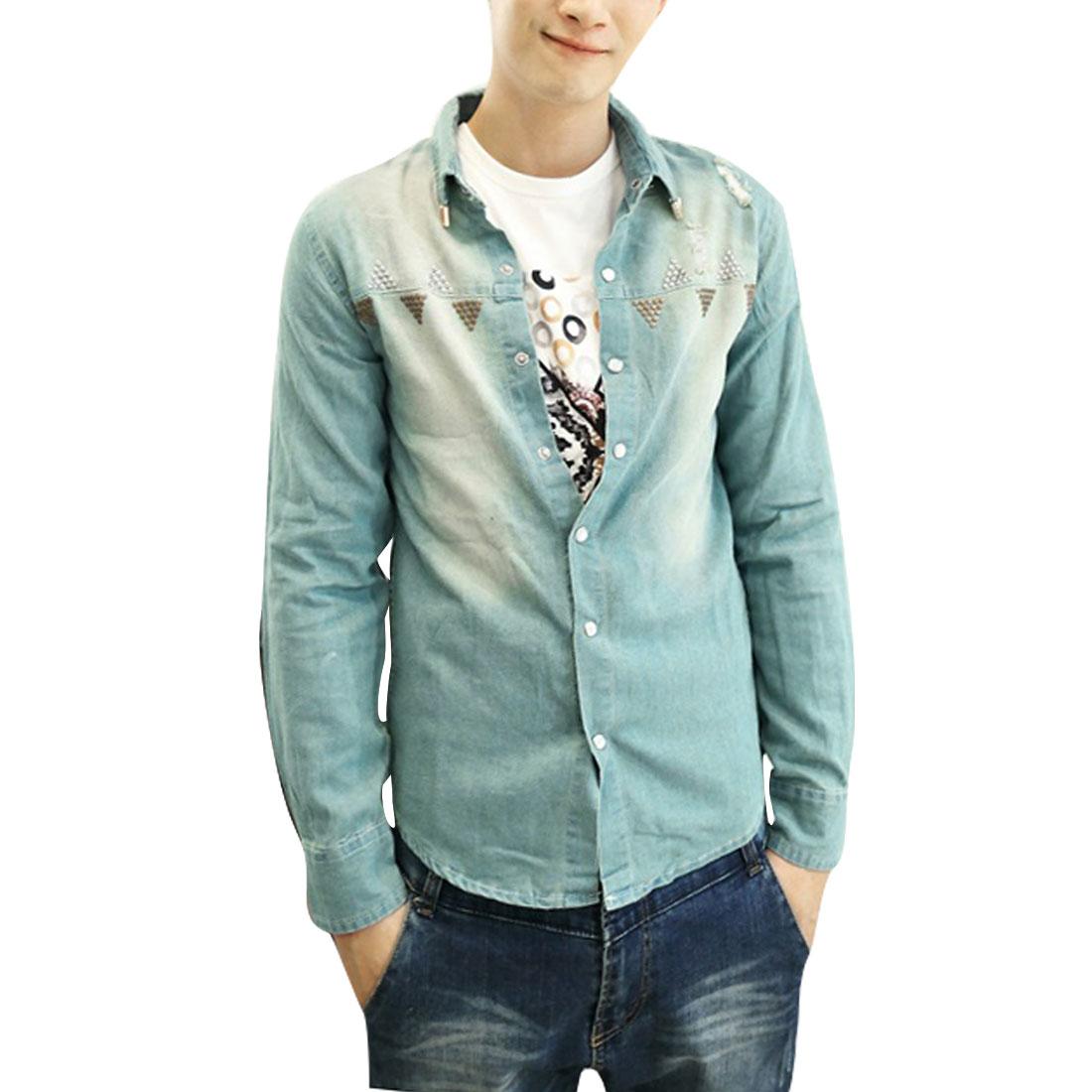 Light Blue Man Round Hem Point Collar Snap Buttoned Cuff Denim Shirt XS
