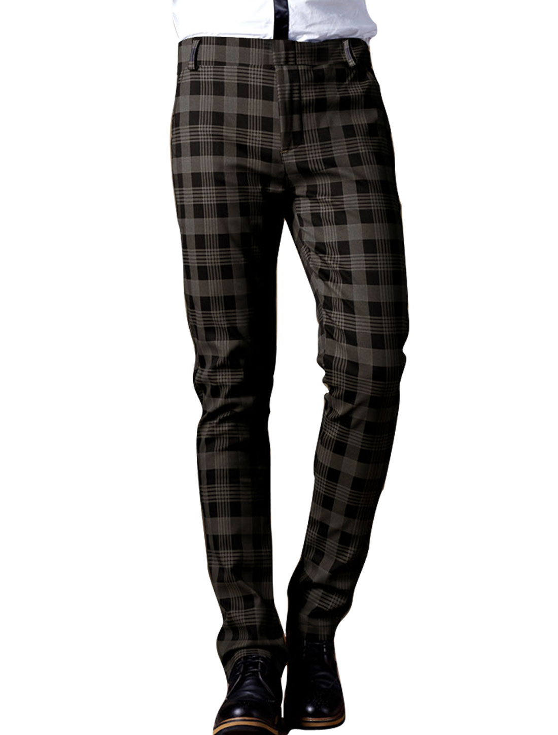 Man Brown One Buttoned Plaids Pattern Long Pants Trousers W31