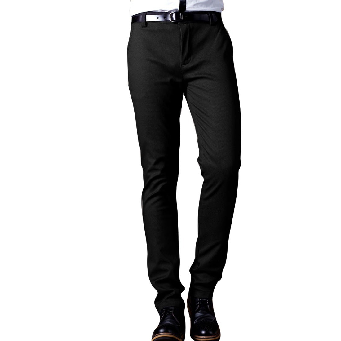 Black Micro Check Belt Loops Zip Fly Slant Pockets Pants Man W29