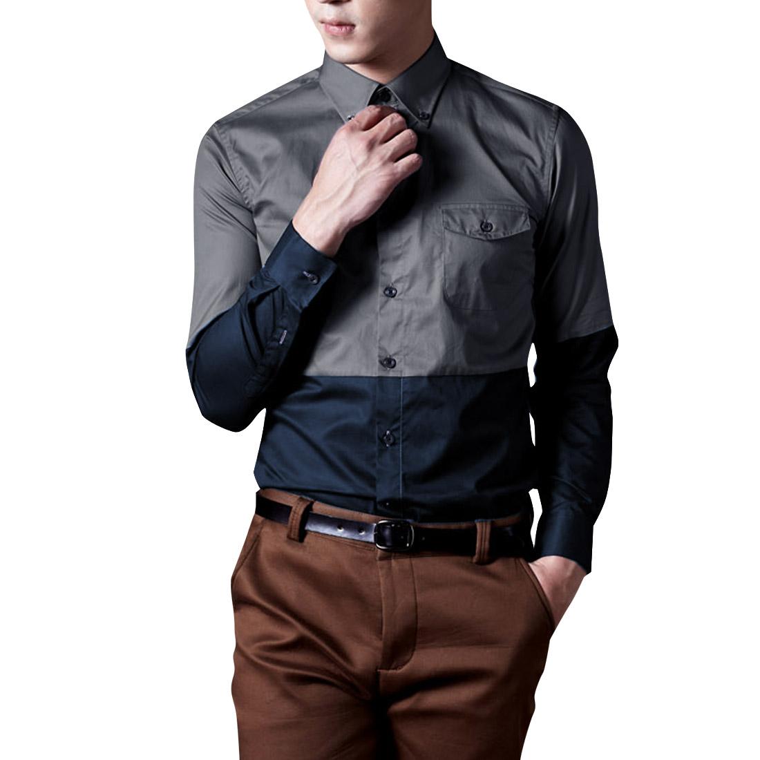 Men Point Collar Long Sleeved Dark Gray Navy Blue Top Shirt M