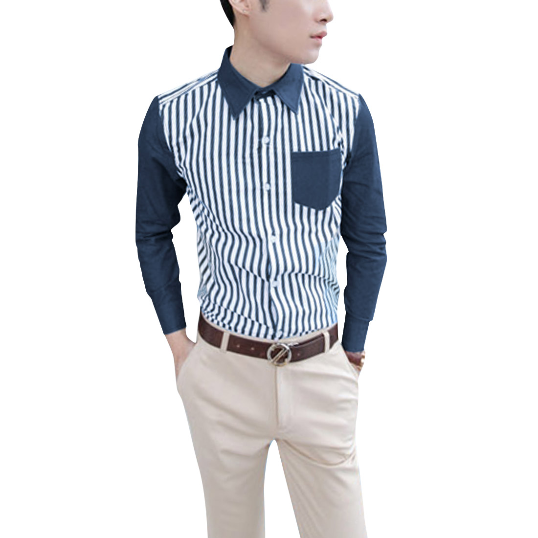 Men Denim Splicing Navy Blue White Stripes Long Sleeve Casual Shirt M