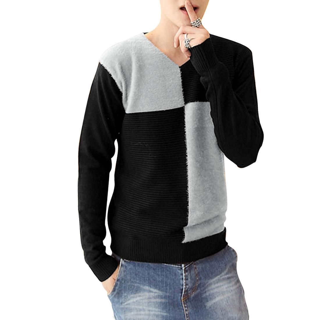 Man V Neck Long Sleeve Elastic Pullover Light Gray Black Sweater S