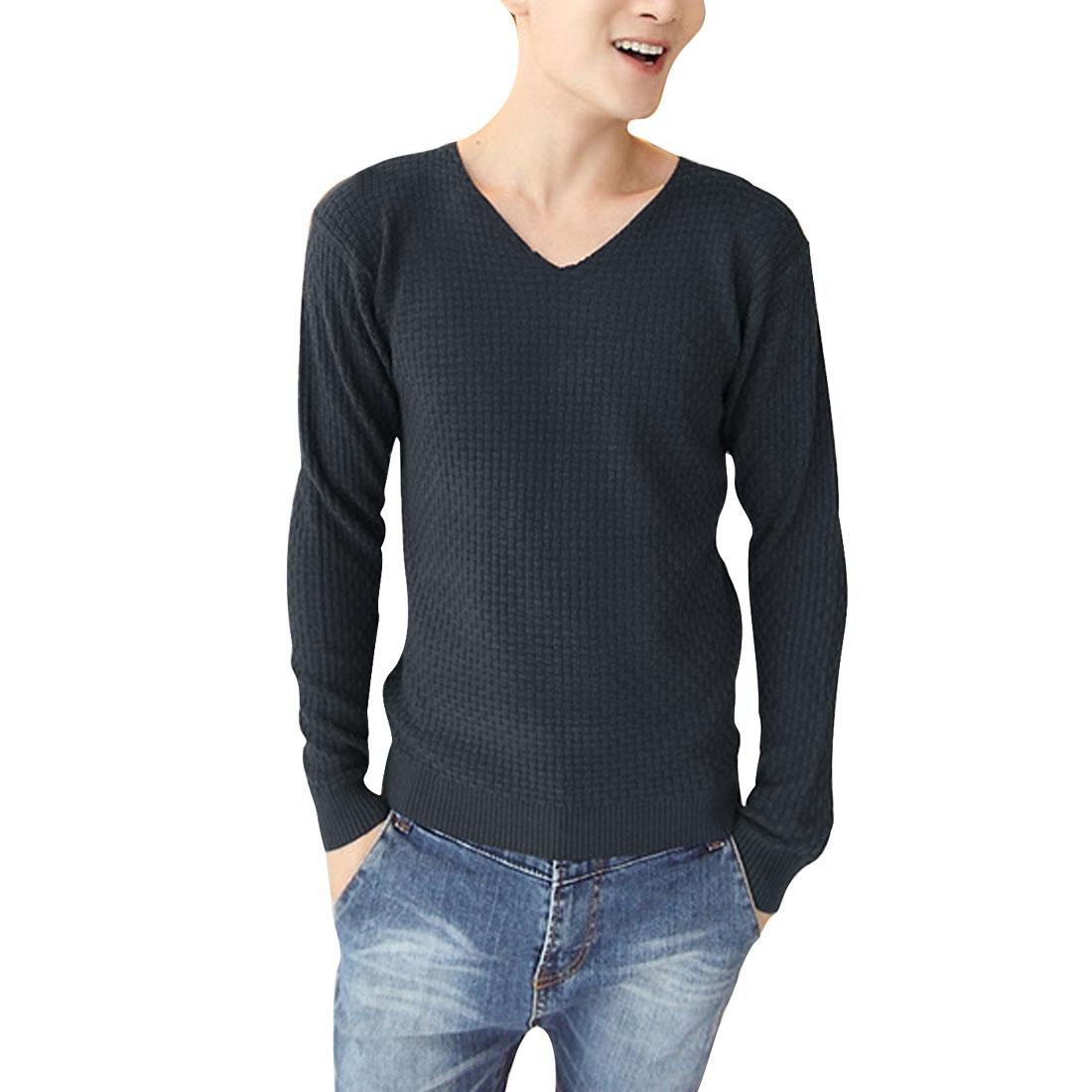 Man V Neck Long-sleeved Elastic Pullover Dark Gray Sweater S