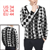 Men Argyle Pattern Long Sleeve Multicolor Knit Cardigan Shirt S