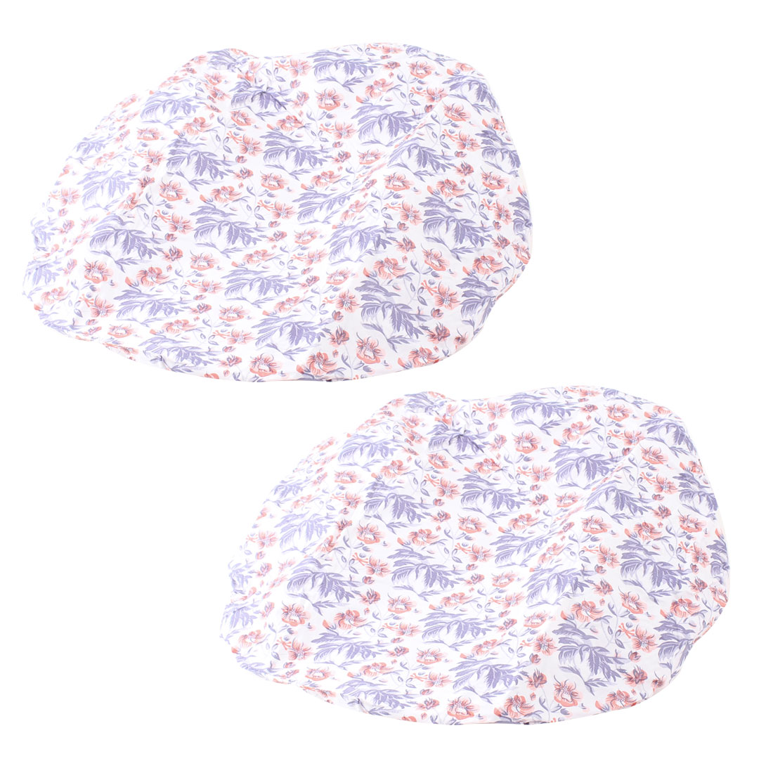 2 Pcs Bathroon White Purple Flower Pattern Elastic Hem Bath Shower Cap