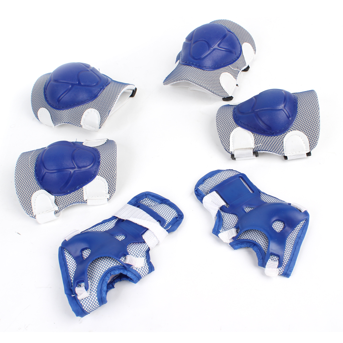 Kids Blue White Skating Turtle Shell Elbow Knee Palm Support Guard 6 in 1 Set