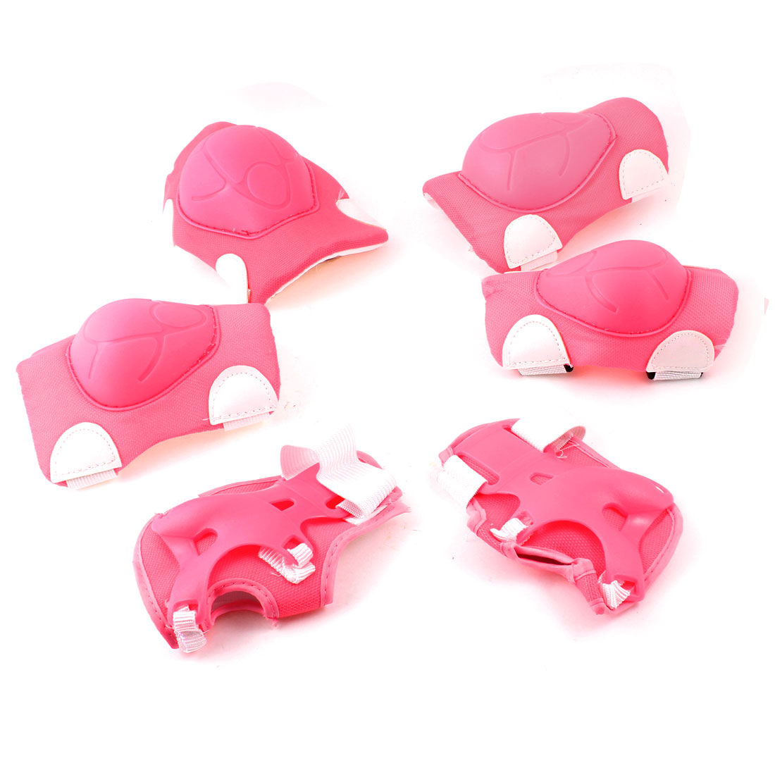 Children Skating Elbow Knee Palm Support Protector White Fuchsia 6 in 1 Set