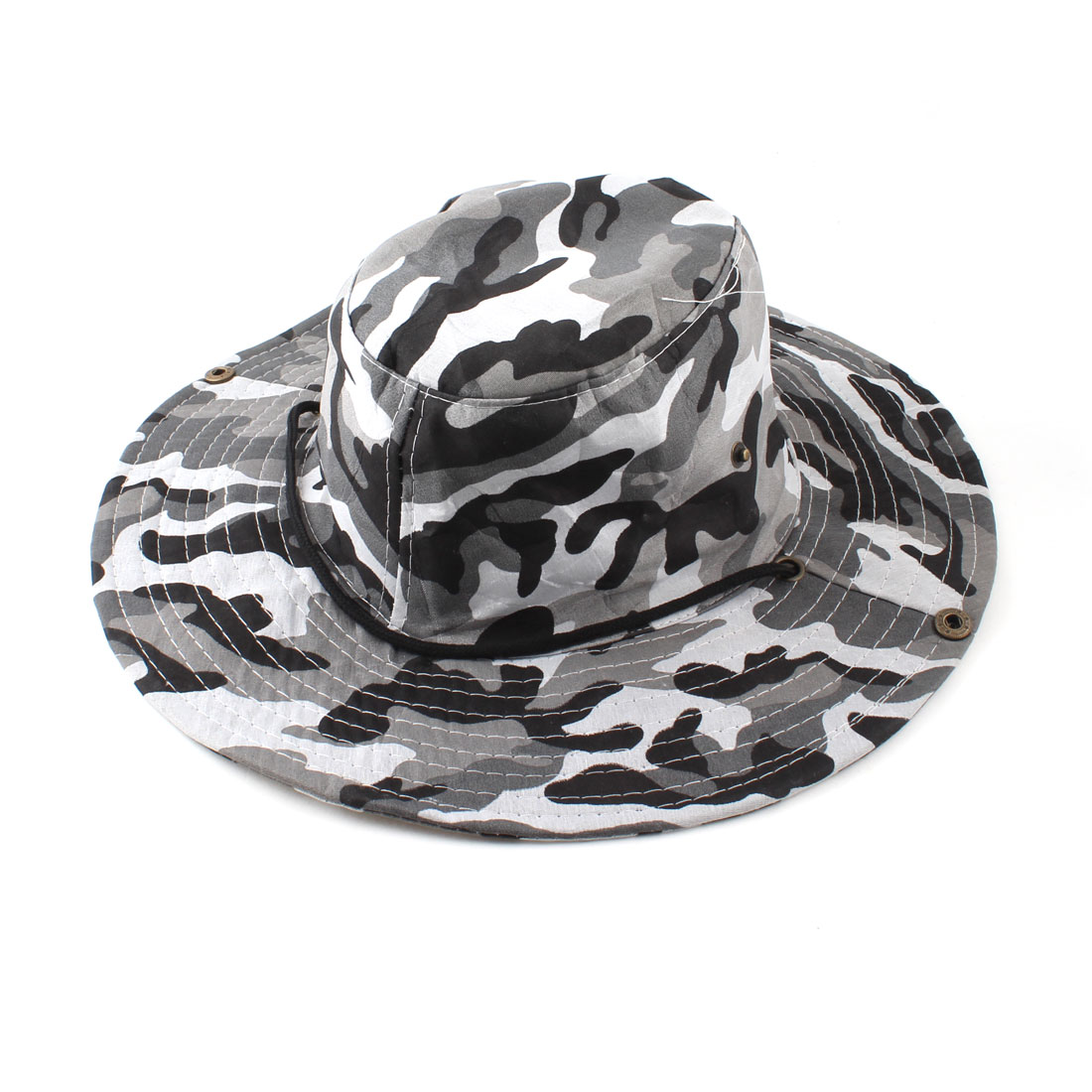 Fishing Hiking Roll Up Brim Gray Black Camouflage Pattern Hat Cap for Men