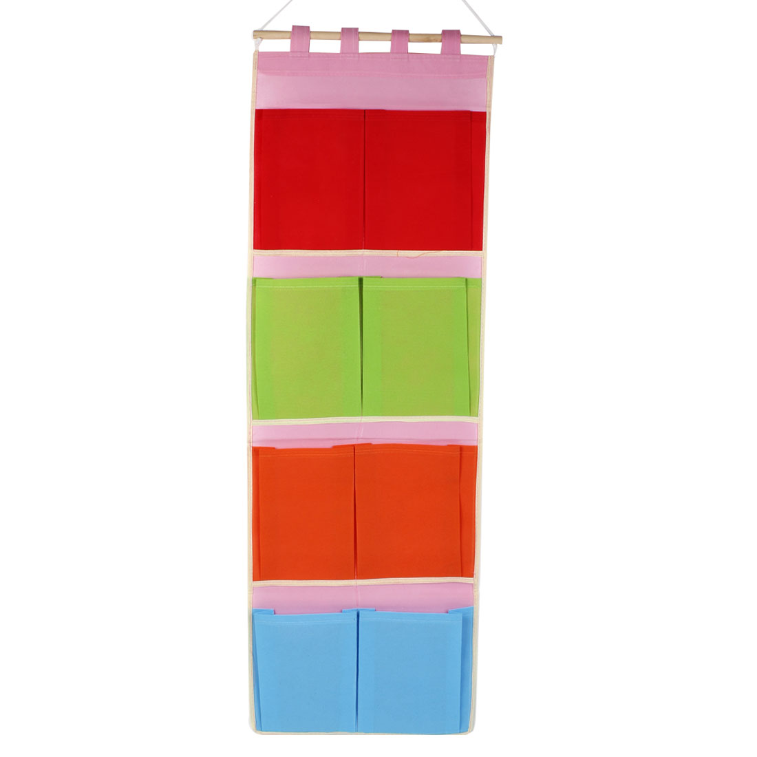 Rectangle Colorful 8 Pockets Wall Door Hanging Storage Bag w Stick