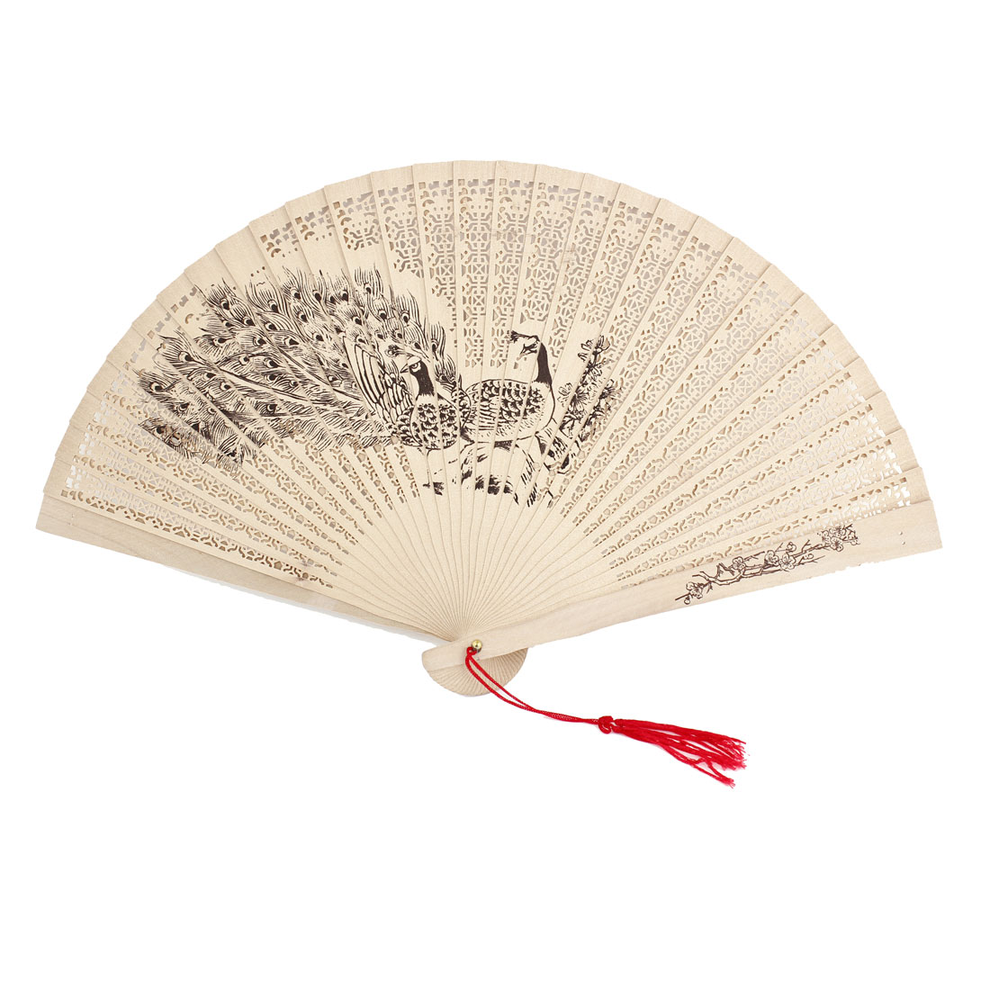Peacock Printed Red Tassel Hollow Out Folded Sandalwood Hand Fan Beige