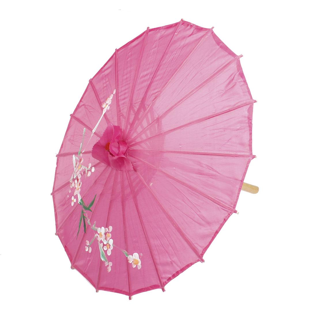Plum Blossom Printed Fuchsia Polyester Cover Bamboo Foldable Dancing Umbrella