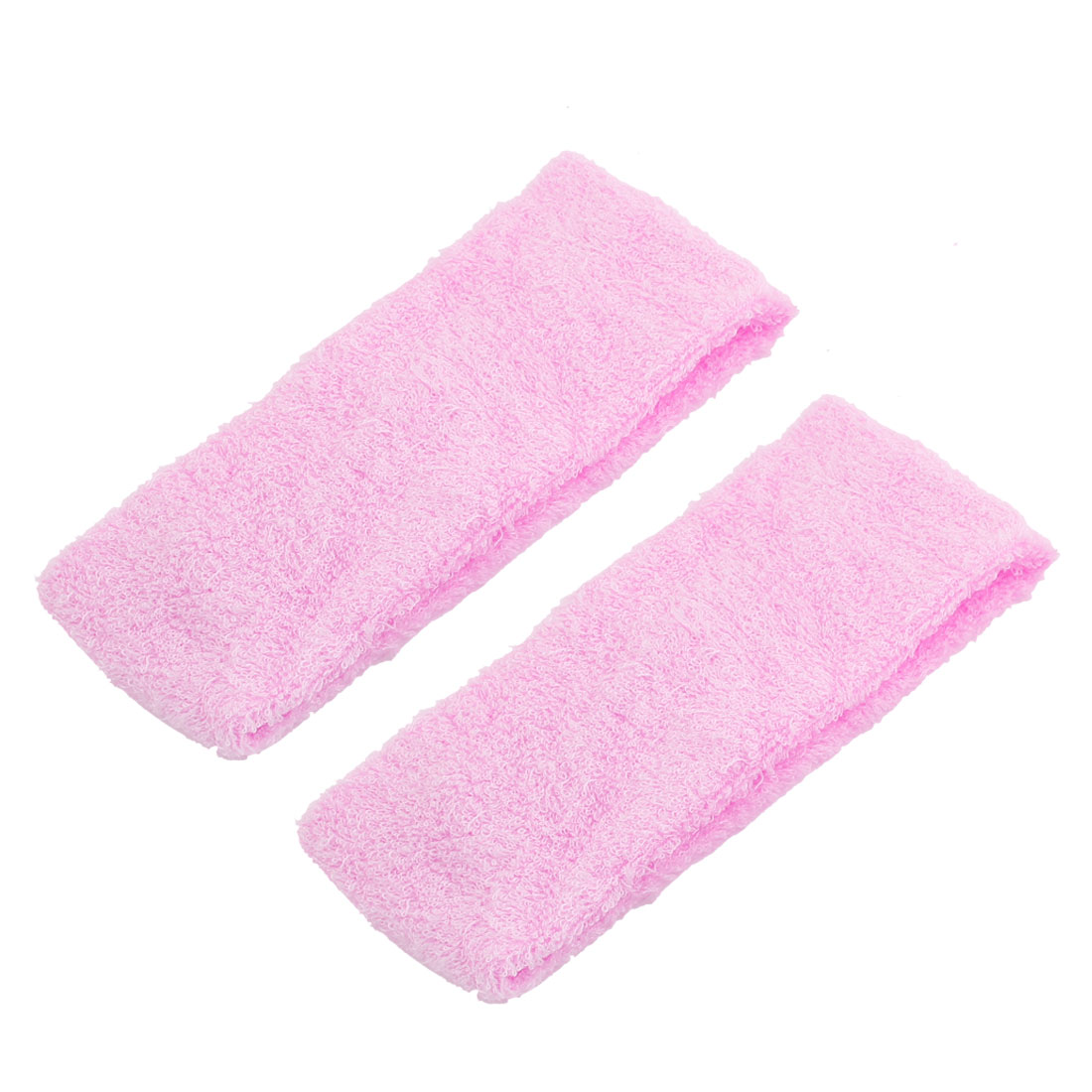Sports Exercise Light Pink Elastic Absorbent Head Bands Wraps Headbands 2 Pcs for Women