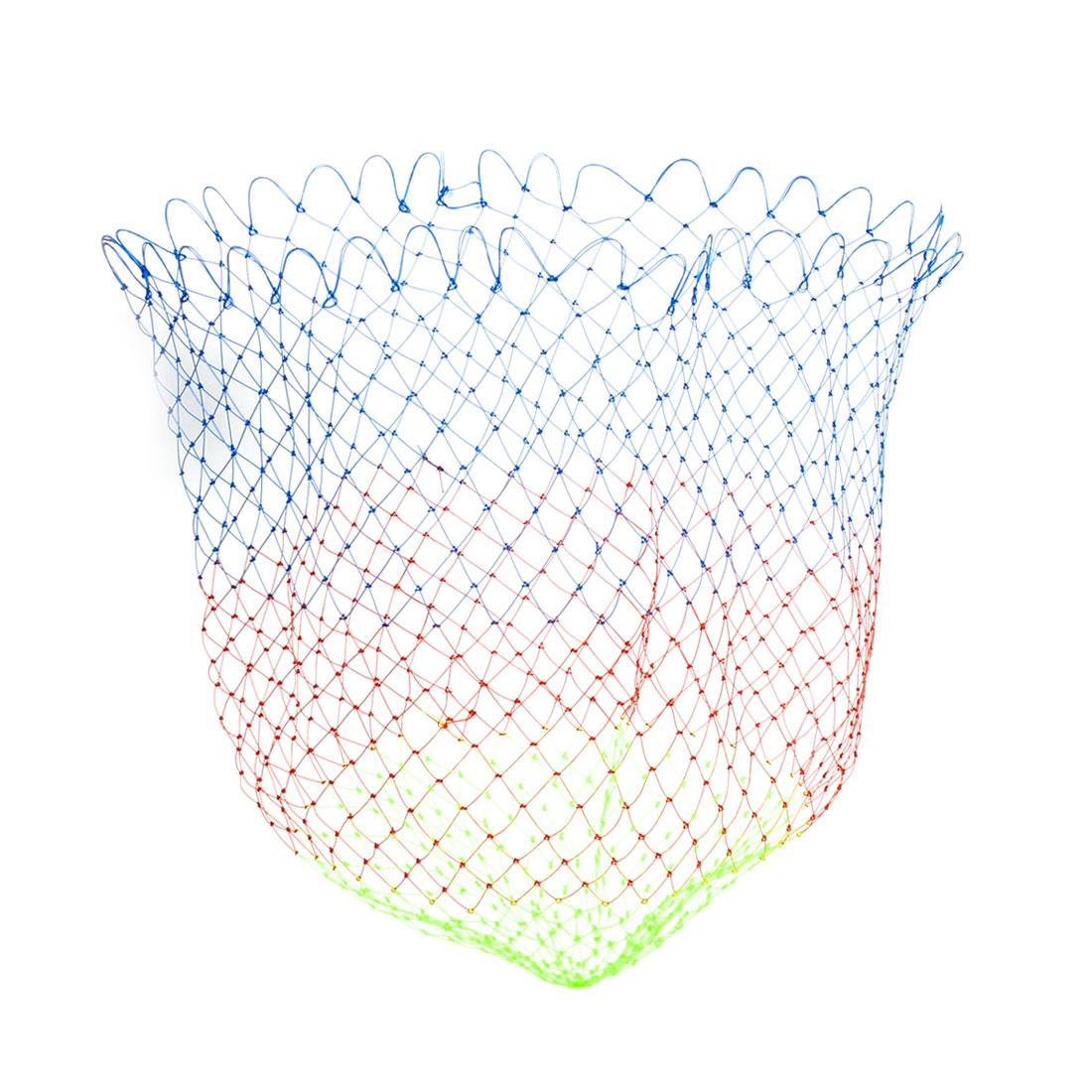 "2.3 x 1.8cm Mesh Hole 16.5"" Depth Folding Nylon Fishing Net Green Blue Red"