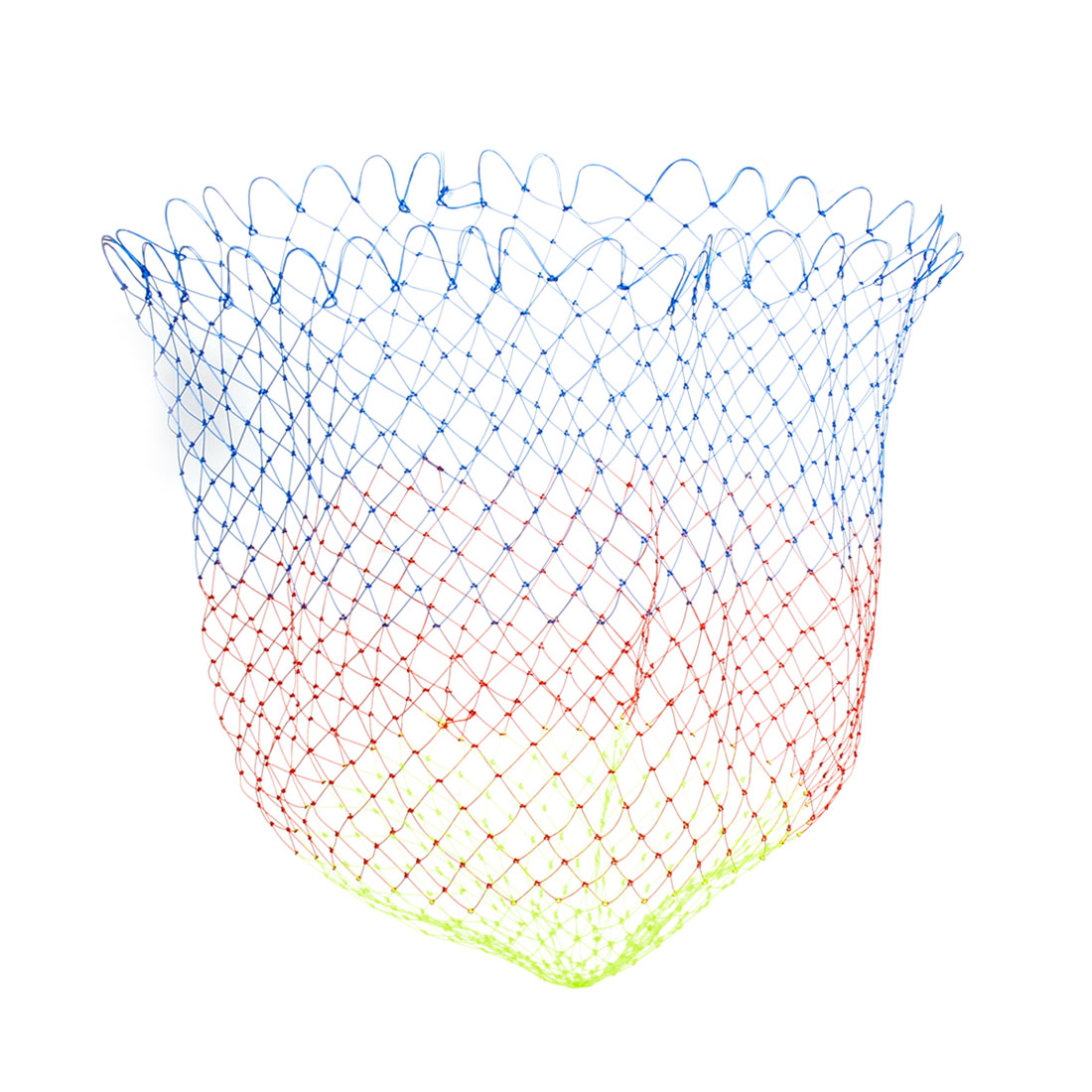 "0.9"" x 0.7"" Mesh Hole 13.8"" Depth Folded Nylon Landing Fishing Net Tricolor"