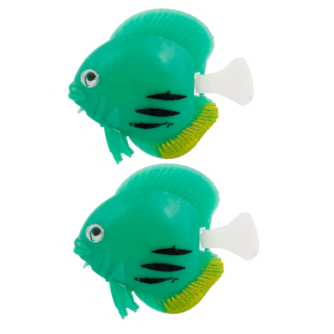 2 Pcs Aquarium Tank Decorative Simulation Plastic Floating Fish Green