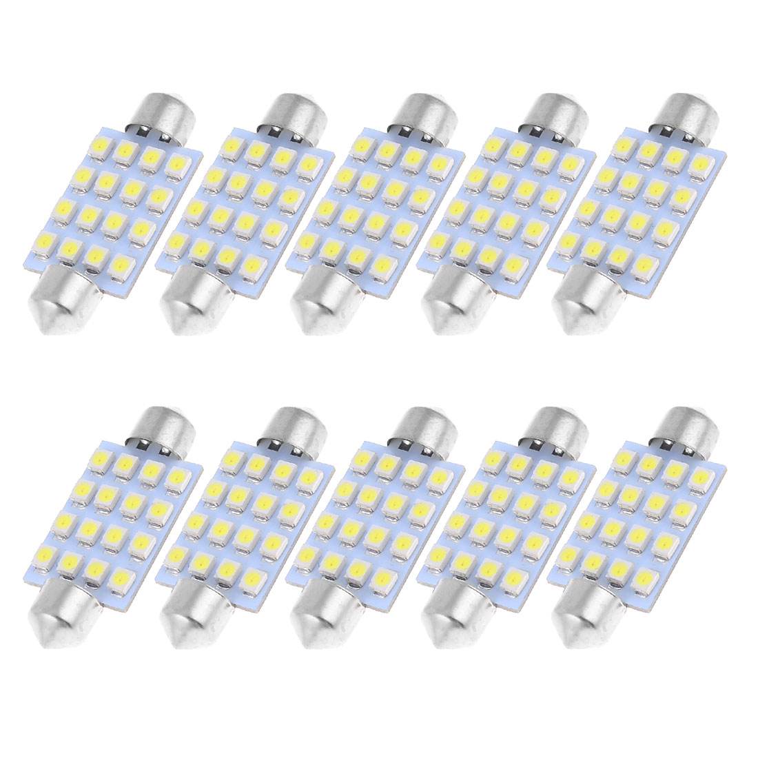 "10pcs 42mm 1.72"" 3528 1210 SMD 16-LED Festoon Dome Light White 211-2 212-2 569"