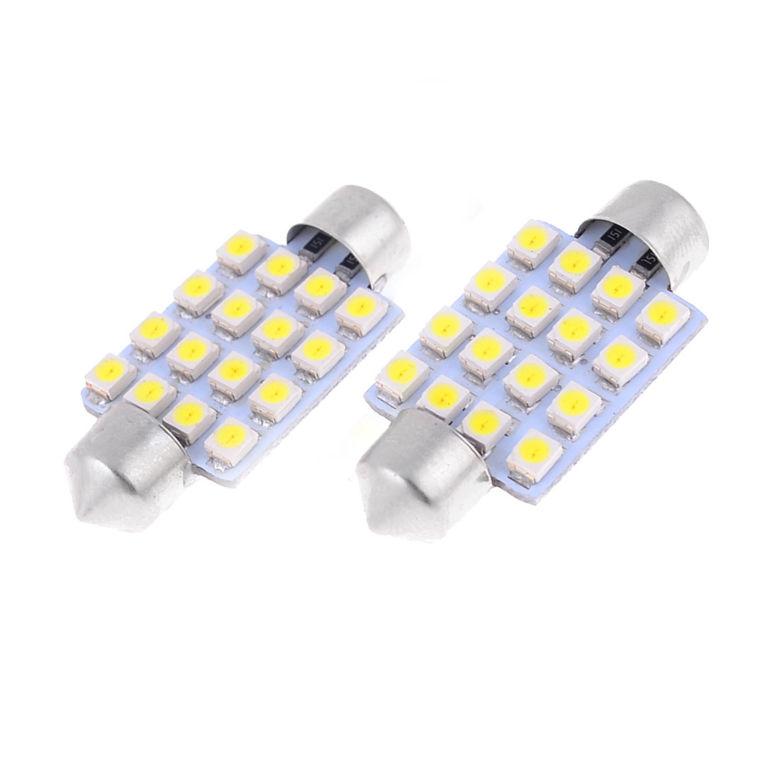 "2PCS 39mm 1.54"" 3528 White 16-SMD LED Festoon Dome Light Bulb DE3425 DE3423 C5W"