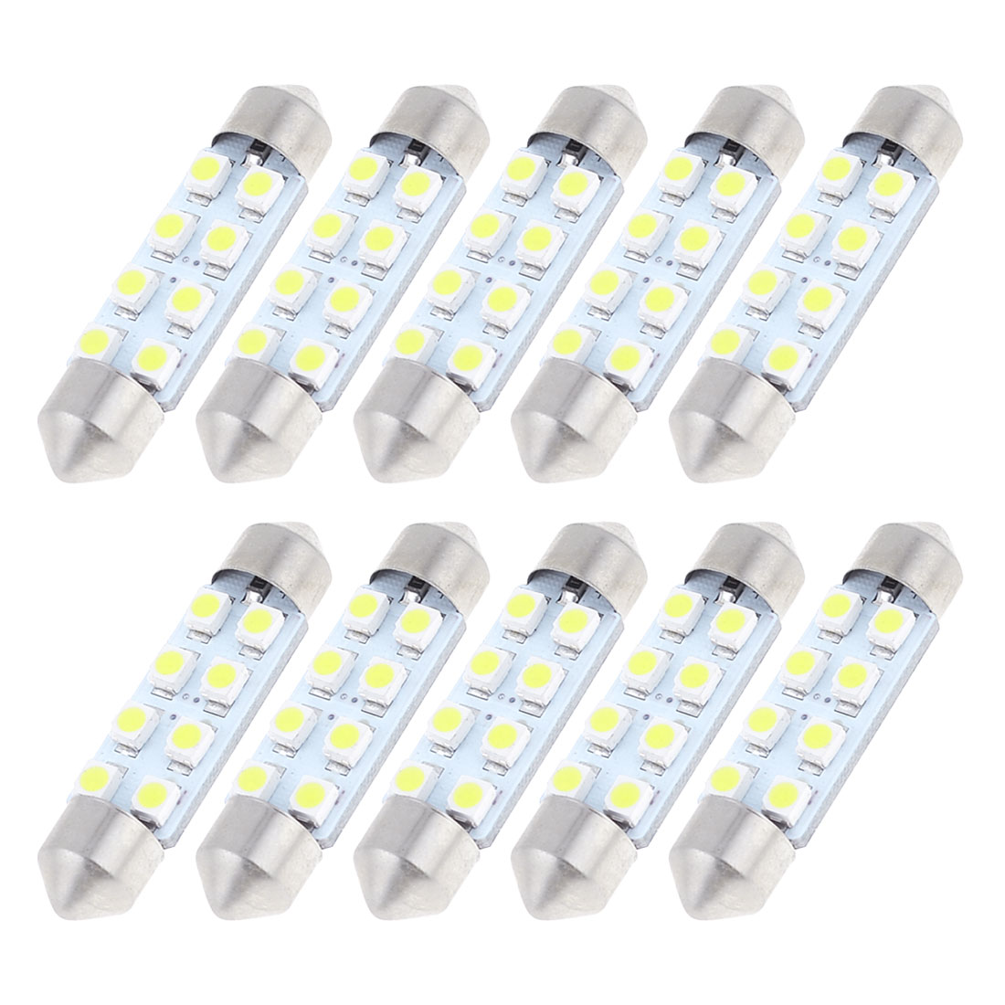 10 Pcs 41mm 8-SMD 1210 White Festoon Dome Light LED Bulbs 211-2 212-2 569 6429