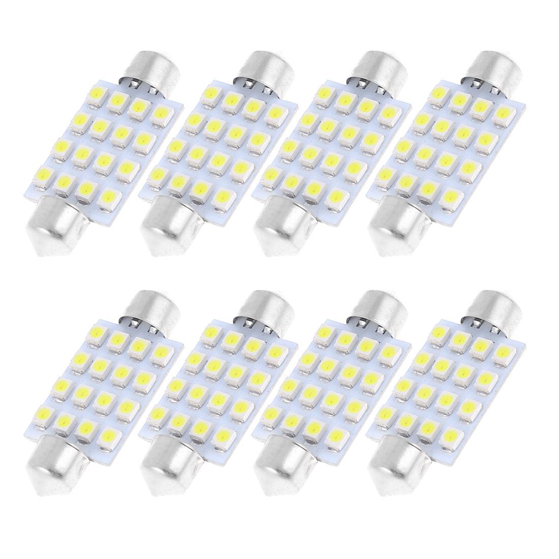 "8 Pcs 41mm 1.6"" 16-SMD LED White Festoon Dome Light Bulbs 211-2 212-2 569 578"