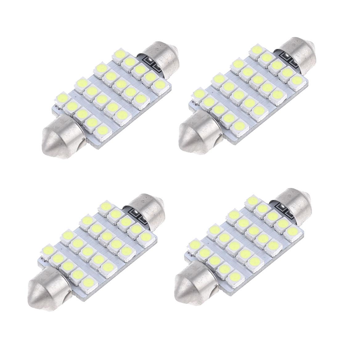 4pcs 41mm 3528 1210 SMD 20-LED Festoon Dome Light Bulb White 6413 211-2 212-2