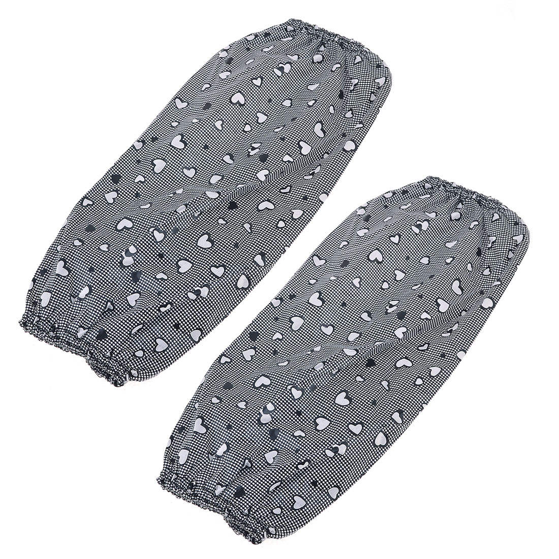 Gray Heart Pattern Arm Sleeve Oversleeve Sleevelet Pair