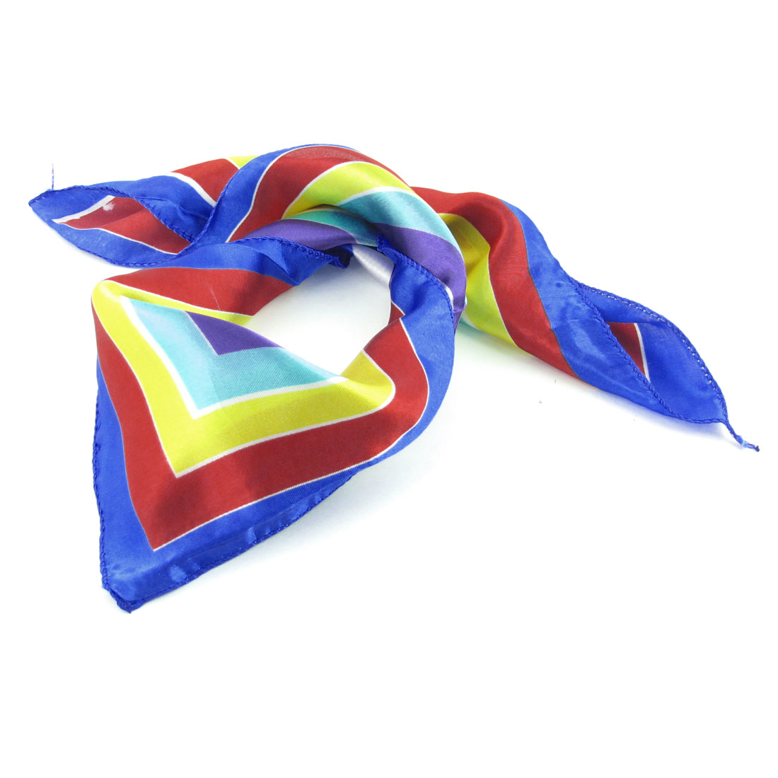 """20""""x 20"""" Colorful Stripes Pattern Kerchief Neck Scarf for Lady"""