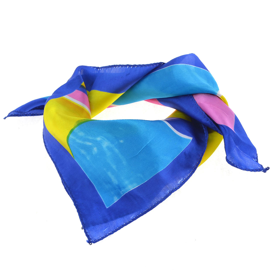 Colorful Polyester Block Pattern Square Shape Silk Scarf Neckerchief for Women