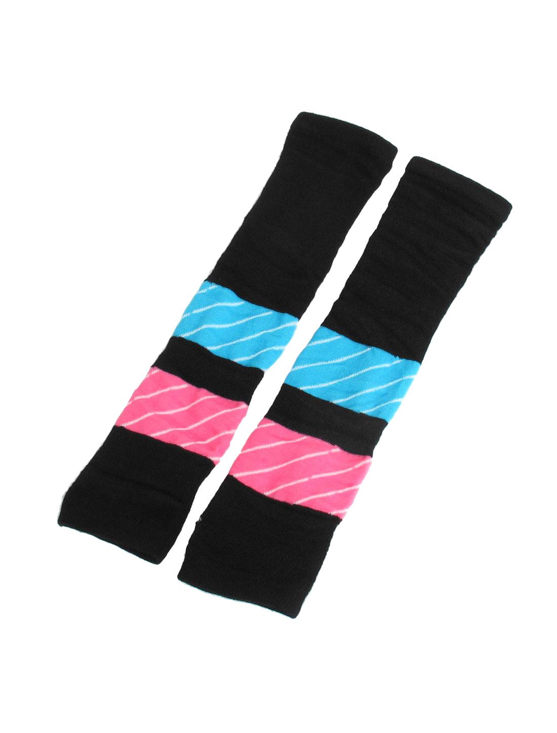 Ladies Black Blue Pink Elastic Fingerless Arm Warmers Long Gloves Pair