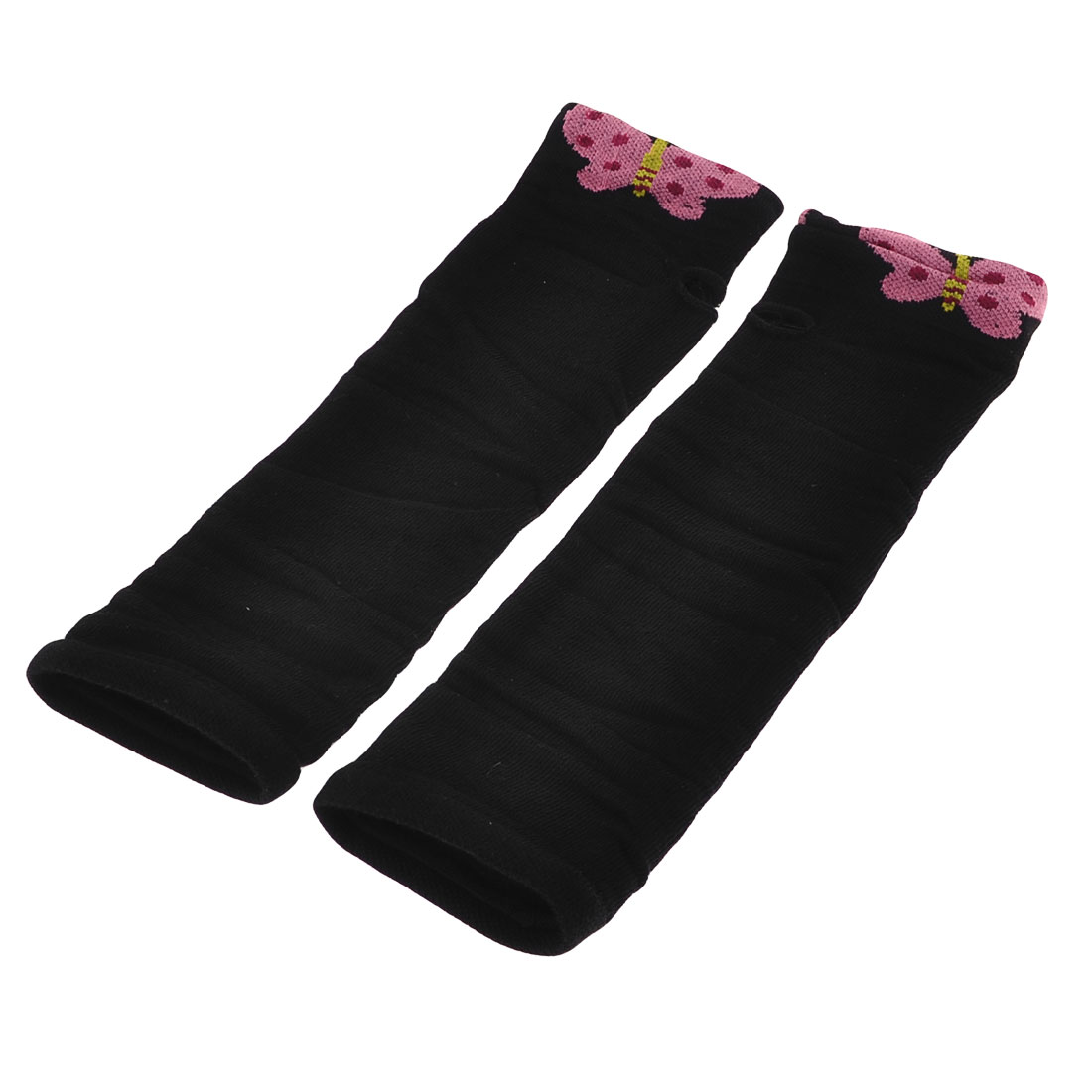 Fuchsia Butterfly Pattern Elastic Cuff Fingerless Arm Warmers Long Gloves Pair