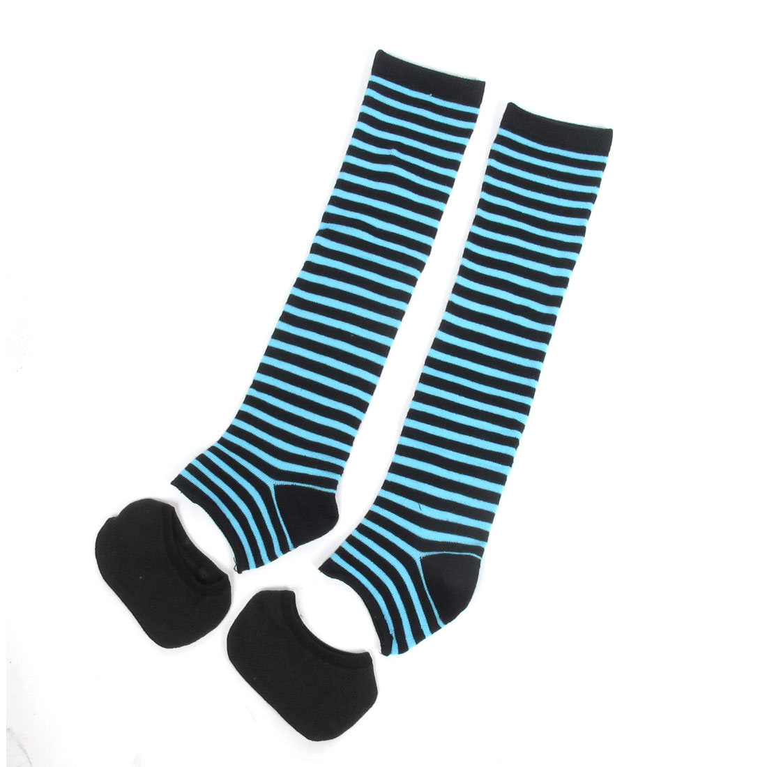 Black Cyan Stripe Pattern Stretchy Stirrup Leg Warmers w Half Socks