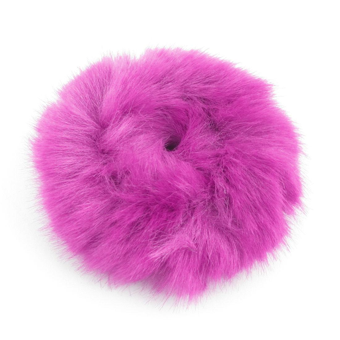 Hair Ornament Fuchsia Plush Elastic Ponytail Holder for Lady