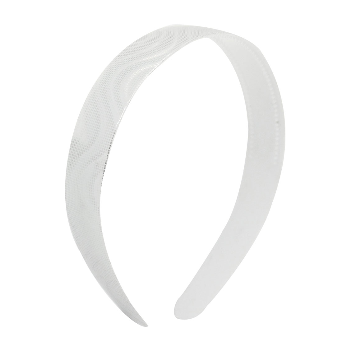Ladies Plastic Check Prints Flexible Hairband Hair Hoop White