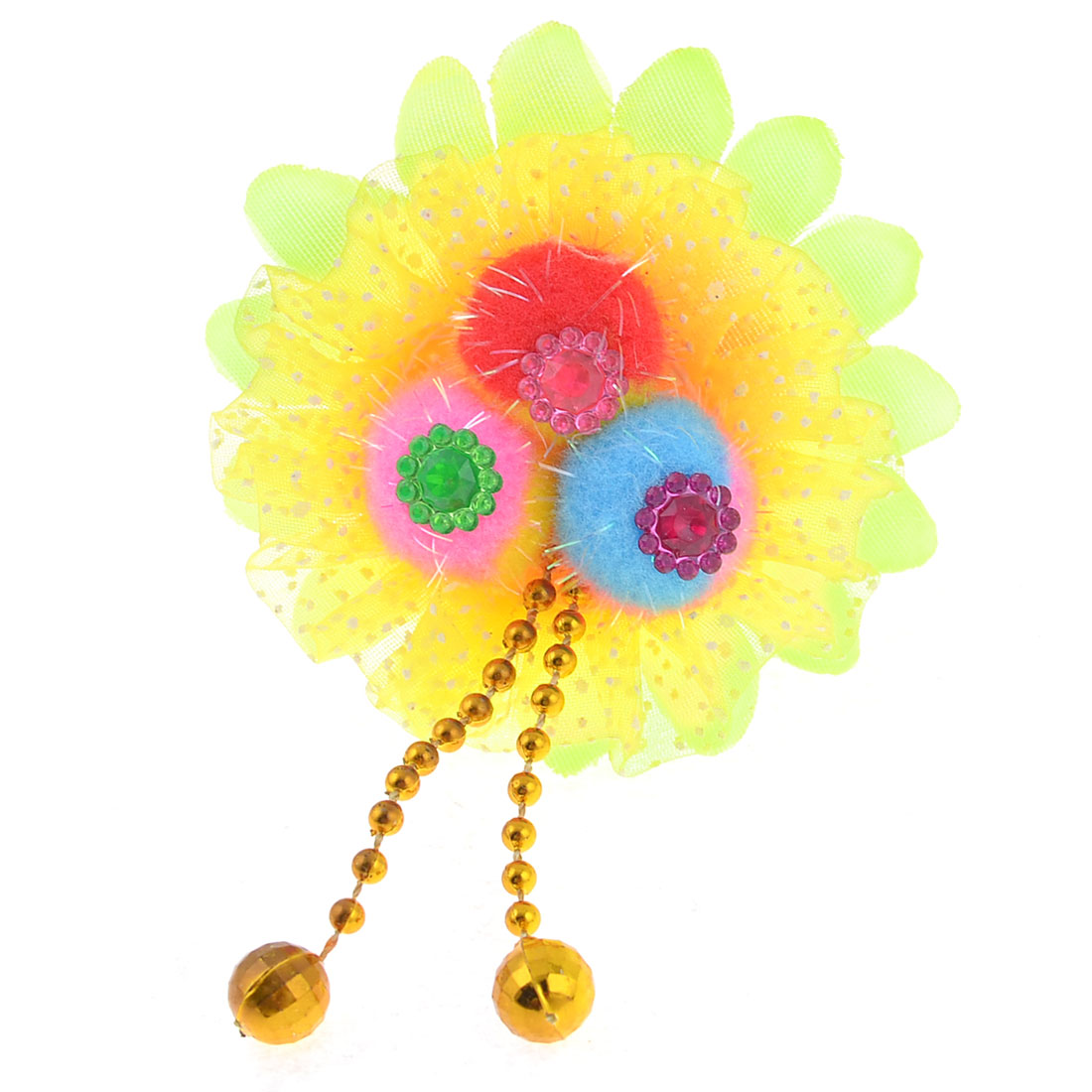 Dots Print Elastic Rubber Band Hair Tie Holder Yellow Red for Kids