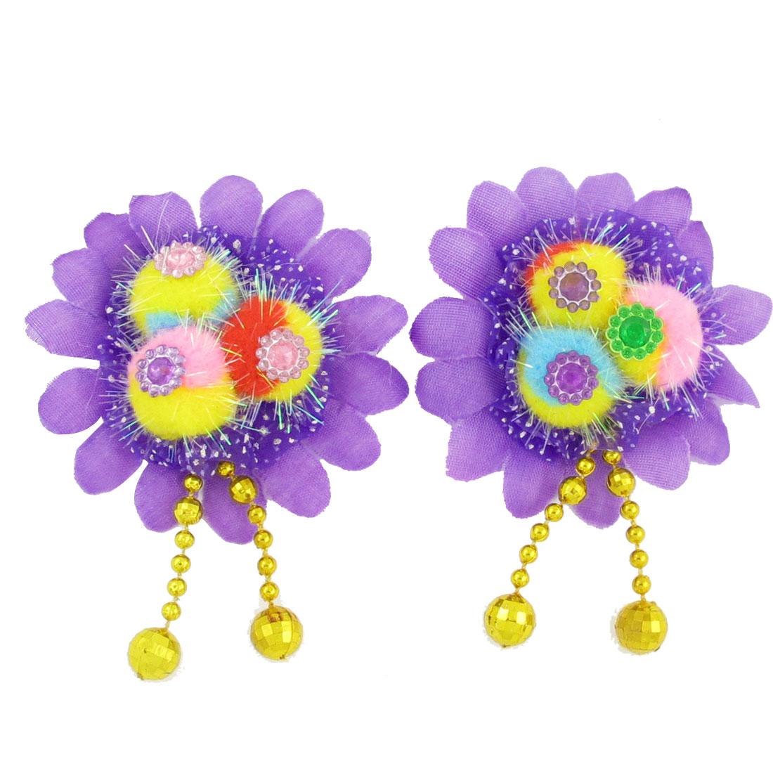 2 Pcs Purple Sunflower Decor Stretch Hair Tie Ponytail Holder for Girl