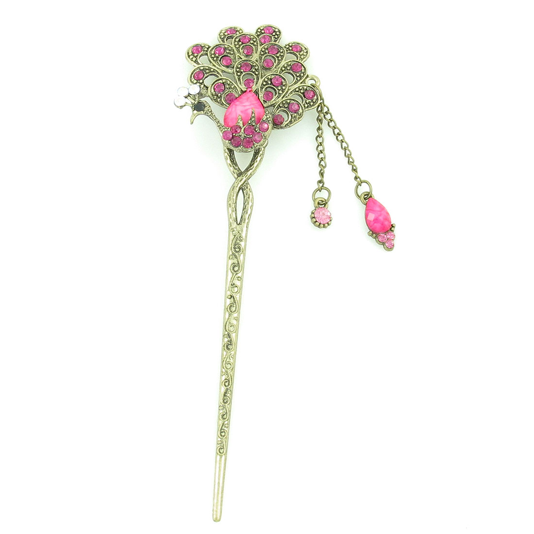 Bronze Tone Fuchsia Beads Inlaid Peacock Decor Hairpin for Lady
