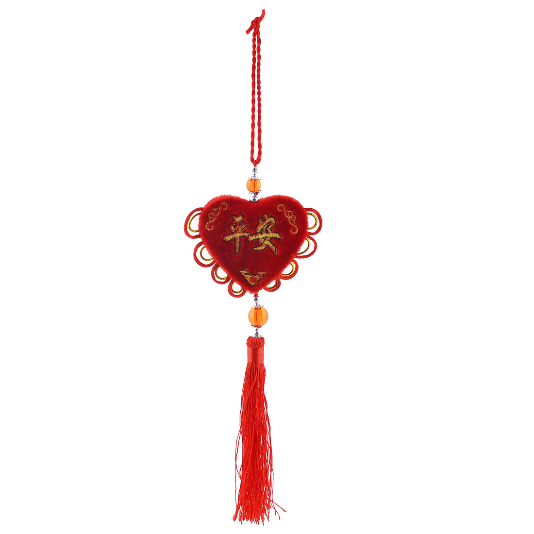 Chinese Knot Fringed Handcraft Red Heart Shape Pendant Ornament