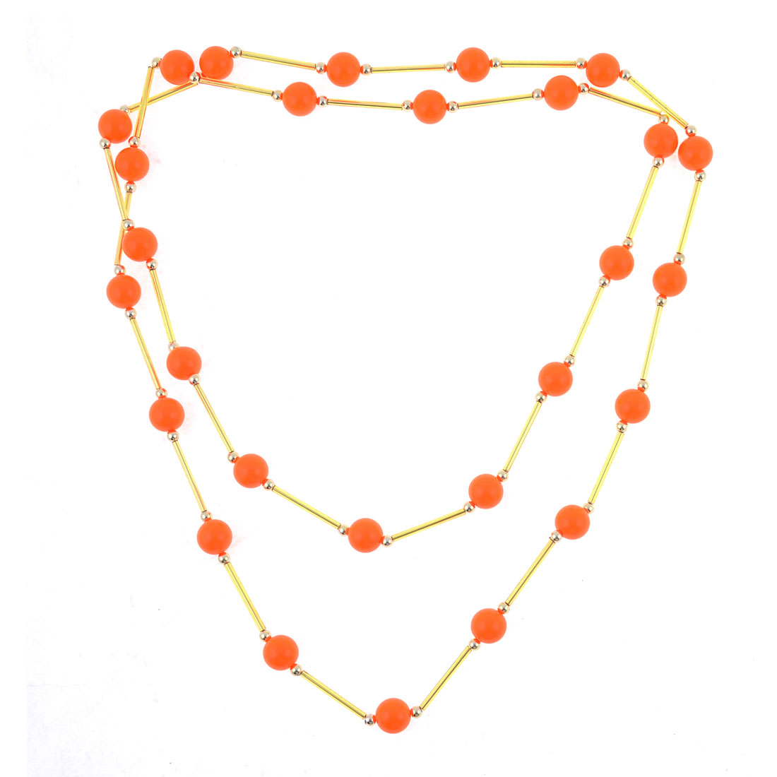 Ladies Plastic Faux Pearl Long Chain Sweater Necklace Orange