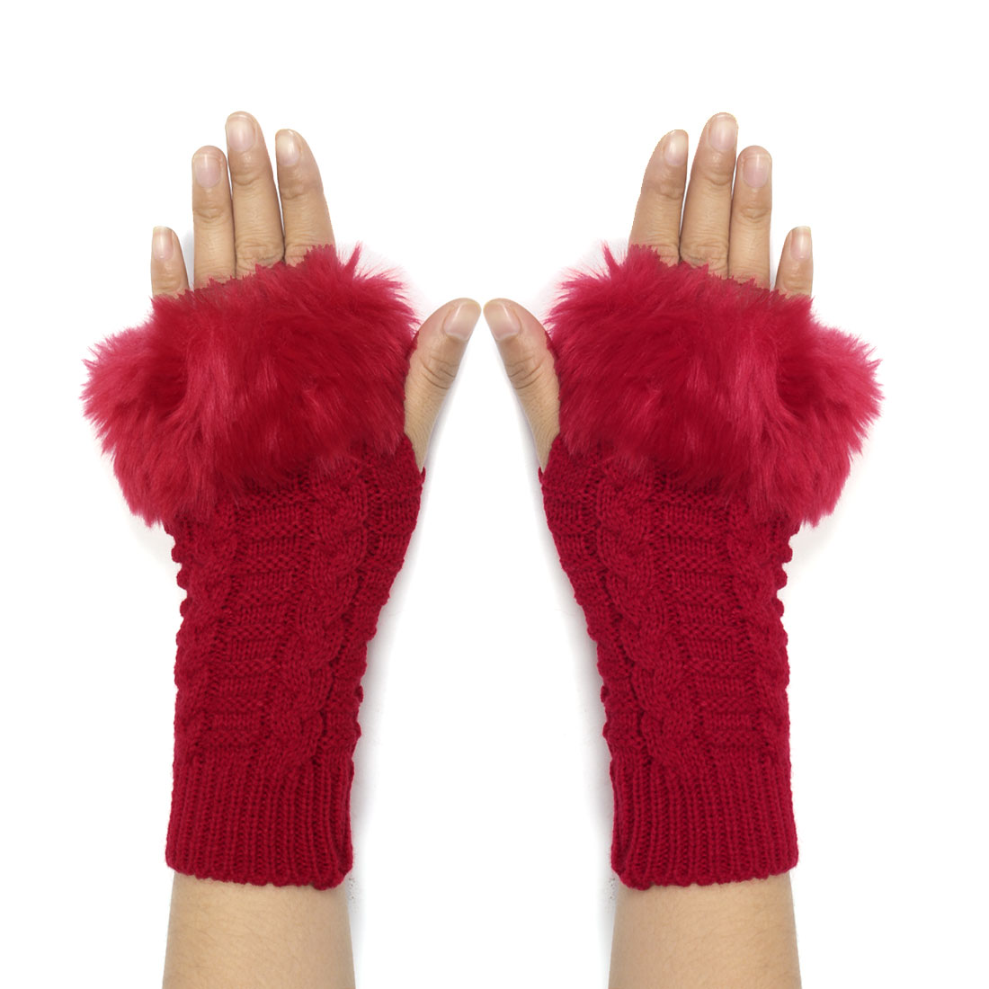 Woman Faux Fur Elastic Braided Pattern Knitted Fingerless Gloves Red Pair