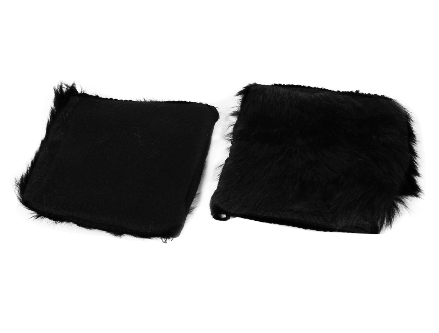 Black Faux Fur Winter Warm Semi-finger Computer Short Gloves Pair for Ladies