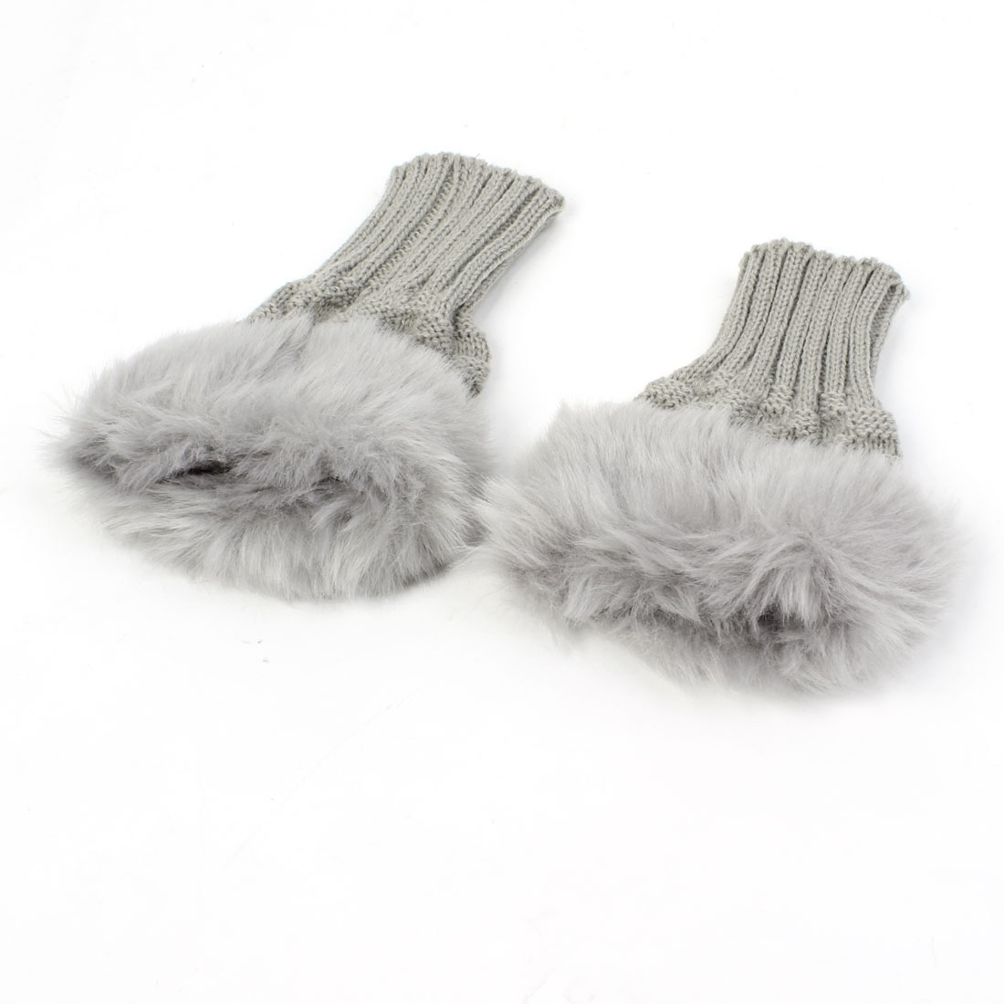 Unisex Winter Fax Fur Decor Palm Warm Knitted Fingerless Gloves Gray Pair