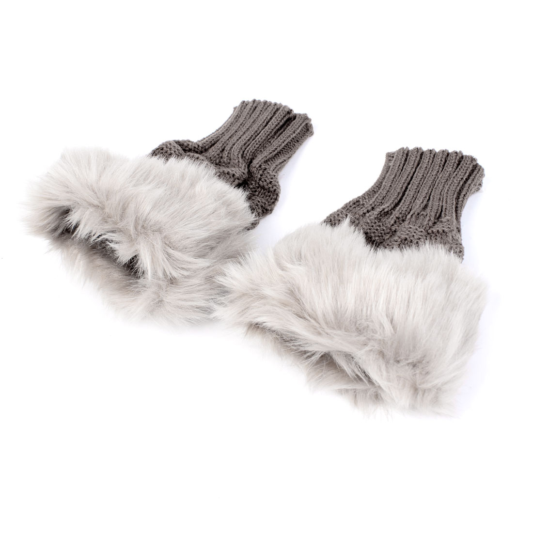 Lovers Gift Autumn Pair Ribbed Imitated Fur Knitted Fingerless Gloves Rosy Brown