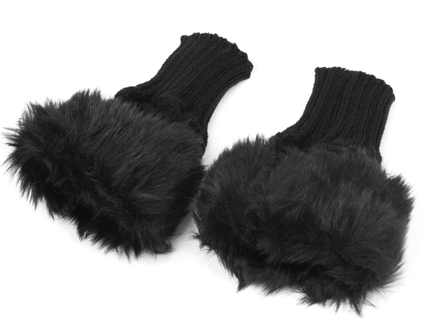 Unisex Winter Black Imitated Fur Decor Decor Palm Warm Knitted Fingerless Gloves Pair