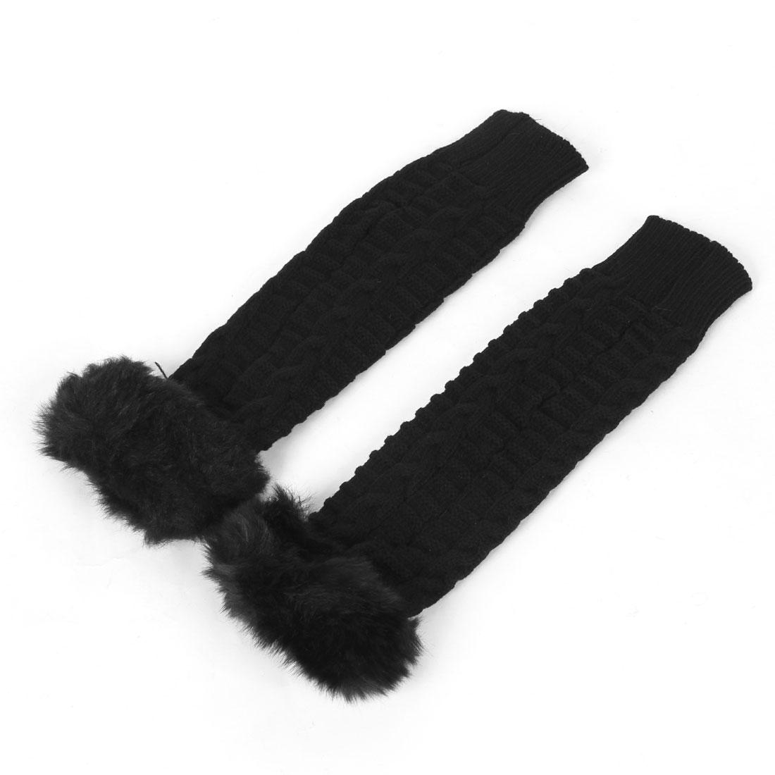 Black Faux Fur Detail Elastic Ribbed Fingerless Gloves Pair for Ladies