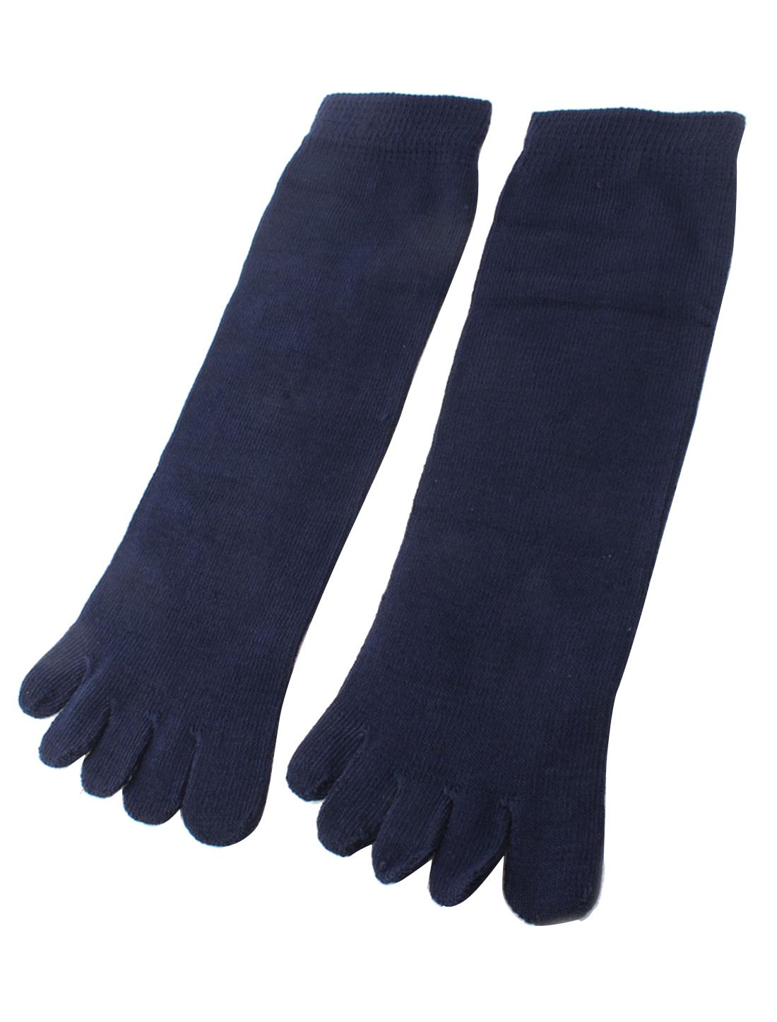 Navy Blue Five Separte Fingers Cutton Blends Toe Socks Pair for Ladies Men